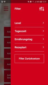 Screenshot der GetFit Fitness App: Rezept-Filter