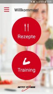 Screenshot der GetFit Fitness App: Startseite