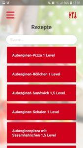 Screenshot der GetFit Fitness App: Rezepte
