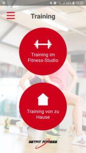 Screenshot der GetFit Fitness App: Trainingsauswahl
