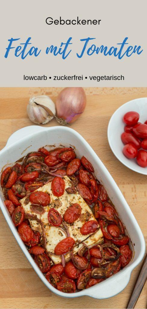 Pinterestbild zum Rezept Gebackener Feta mit Tomaten
