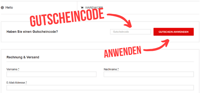 Gutscheincode GetFitFitness im Formular eingeben