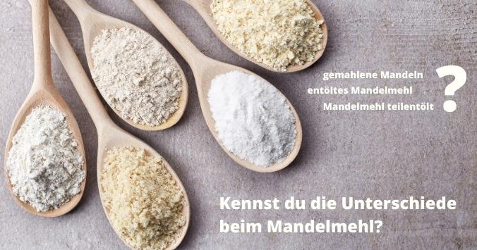 Die Unterschiede von Mandelmehl: 5 Löffel mit verschiedenen Mehlen