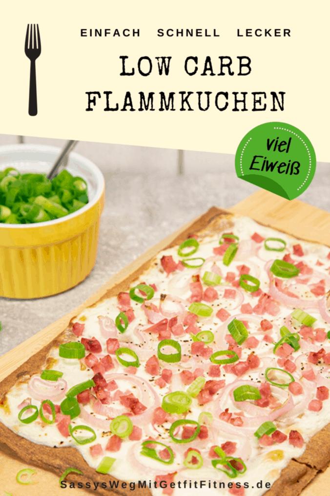 Pinterest-Bild zum Rezept Low Carb Flammkuchen