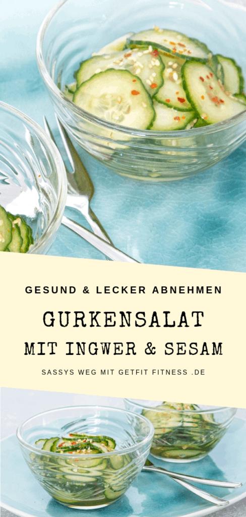 Pinterestbild zum Rezept Gurkensalat mit Ingwer und Sesam