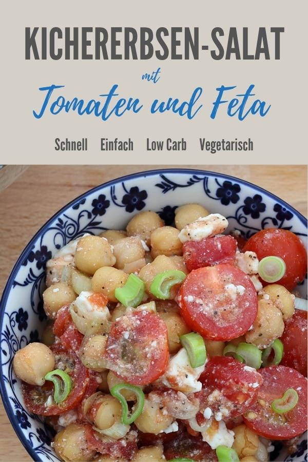Pinterestbild zum Rezept Kichererbsensalat mit Tomaten und Feta
