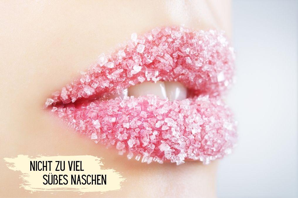 Lippen mit Zucker benetzt