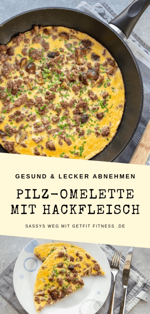 Pinterestbild zum Rezept Pilz-Omelette mit Hackfleisch