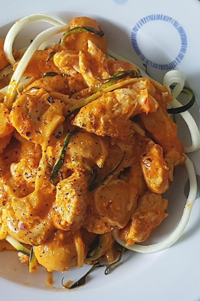 Putenbrust mit Ajvar und Zucchininudeln, angerichtet auf dem Teller, Hochformat