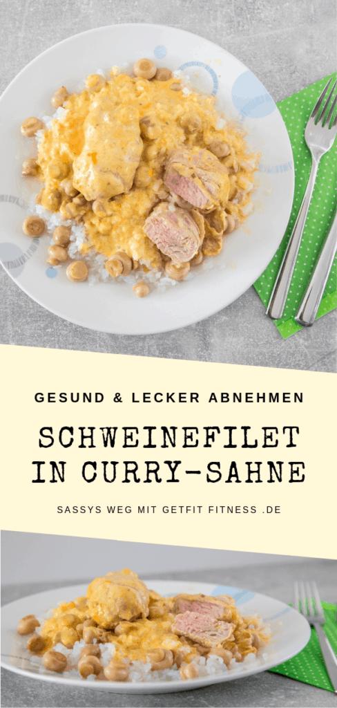 Pinterestbild zum Rezept Schweinefilet in Currysahne mit Shirataki-Reis