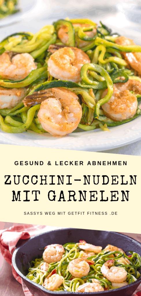 Low Carb Rezept für Zucchini-Nudeln mit Garnelen und Pesto